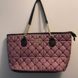 LUV BETSEY Berry Purple~Black quilted hearts PURSE
